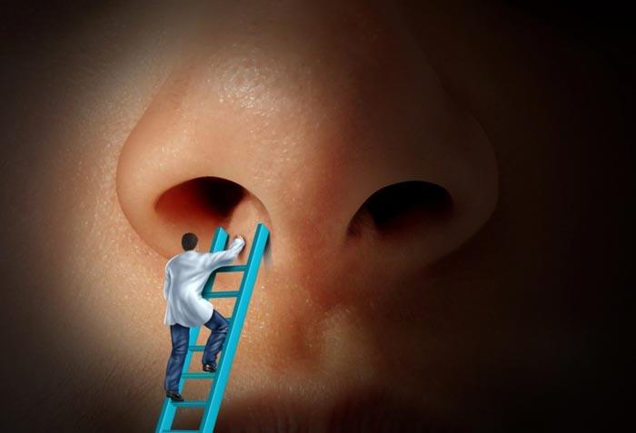 врач смотрит в нос